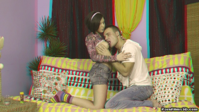 Anaglyph sex in front of TV