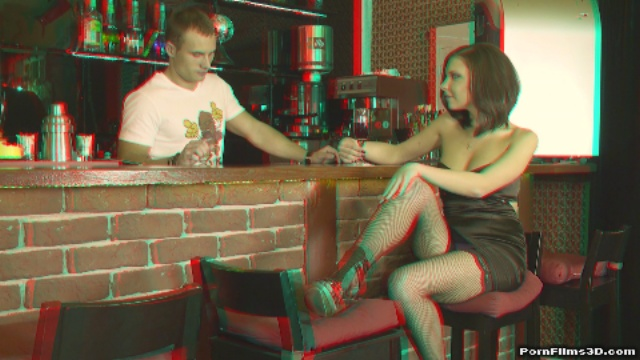 Hot barman at work (red/cyan 3d glasses required)