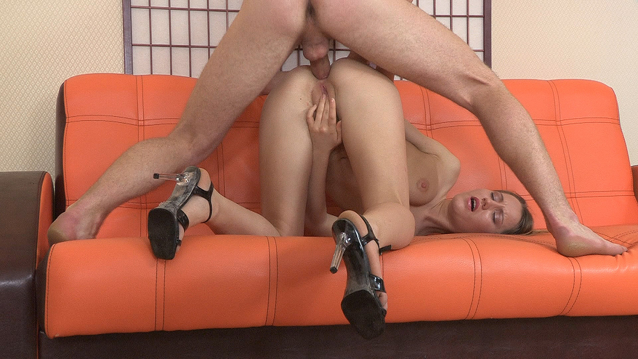 Assfucked in high-heel shoes