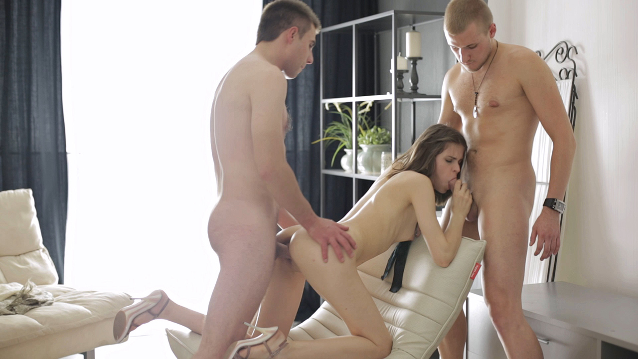 Blindfolded surprise threeway