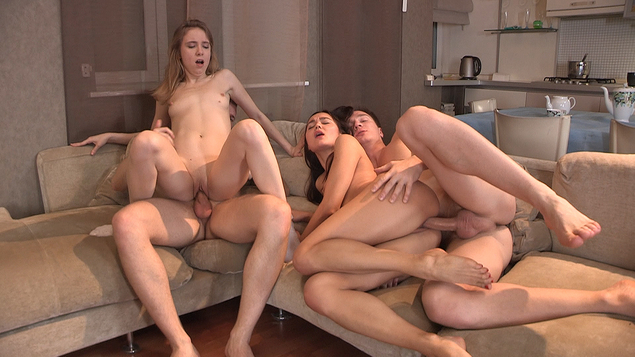 Aziza & Debbie - Foursome swinger fuck party