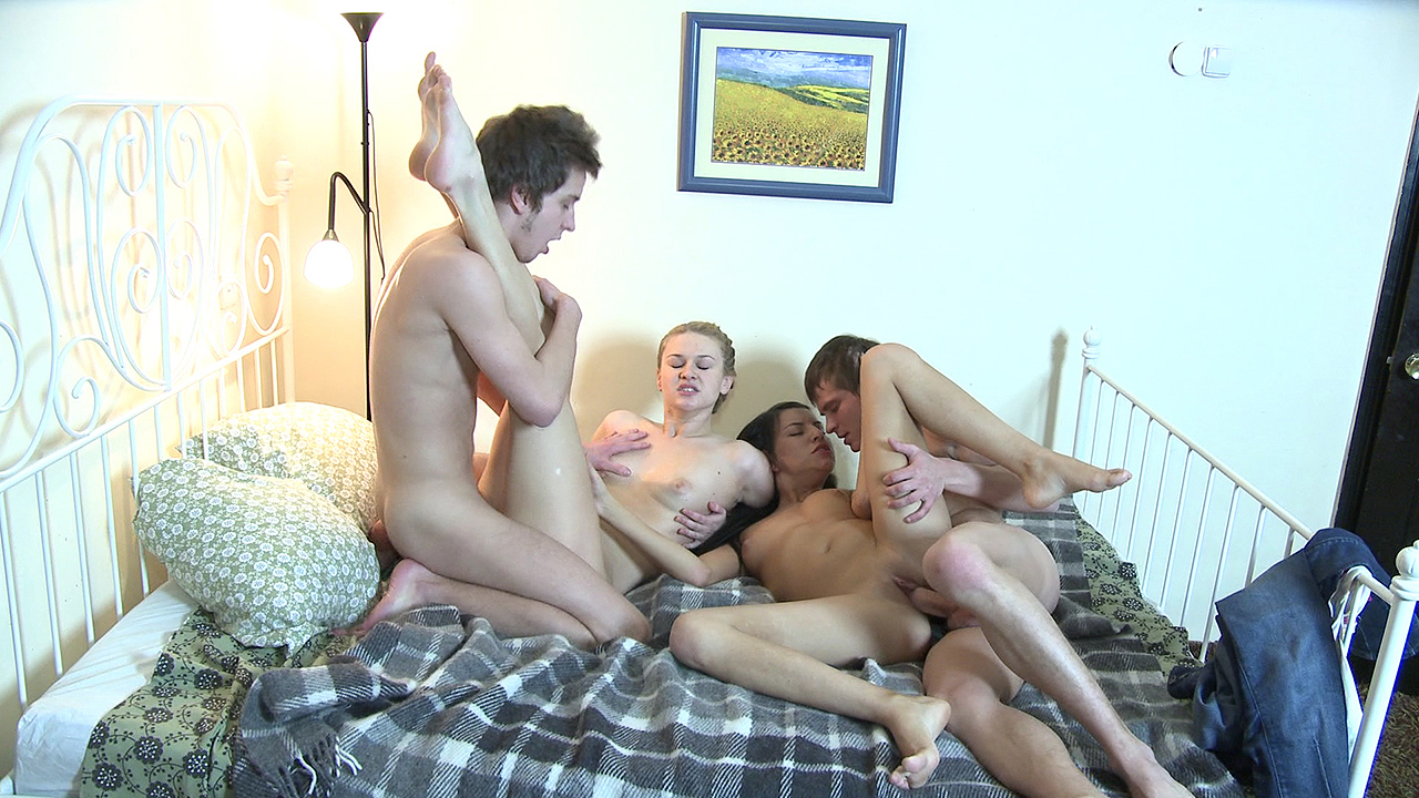 College roommates fuck two hot chicks
