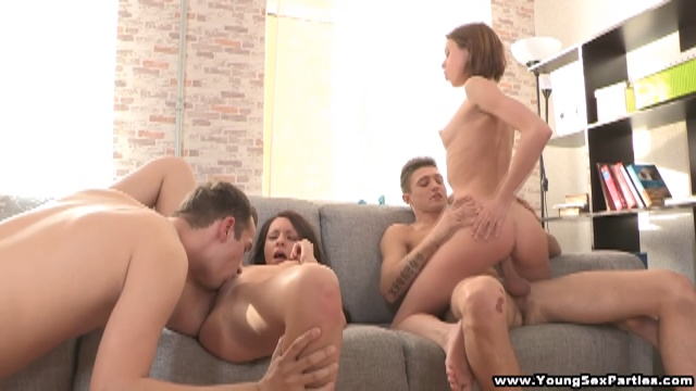 Teen babes sharing stiff dicks