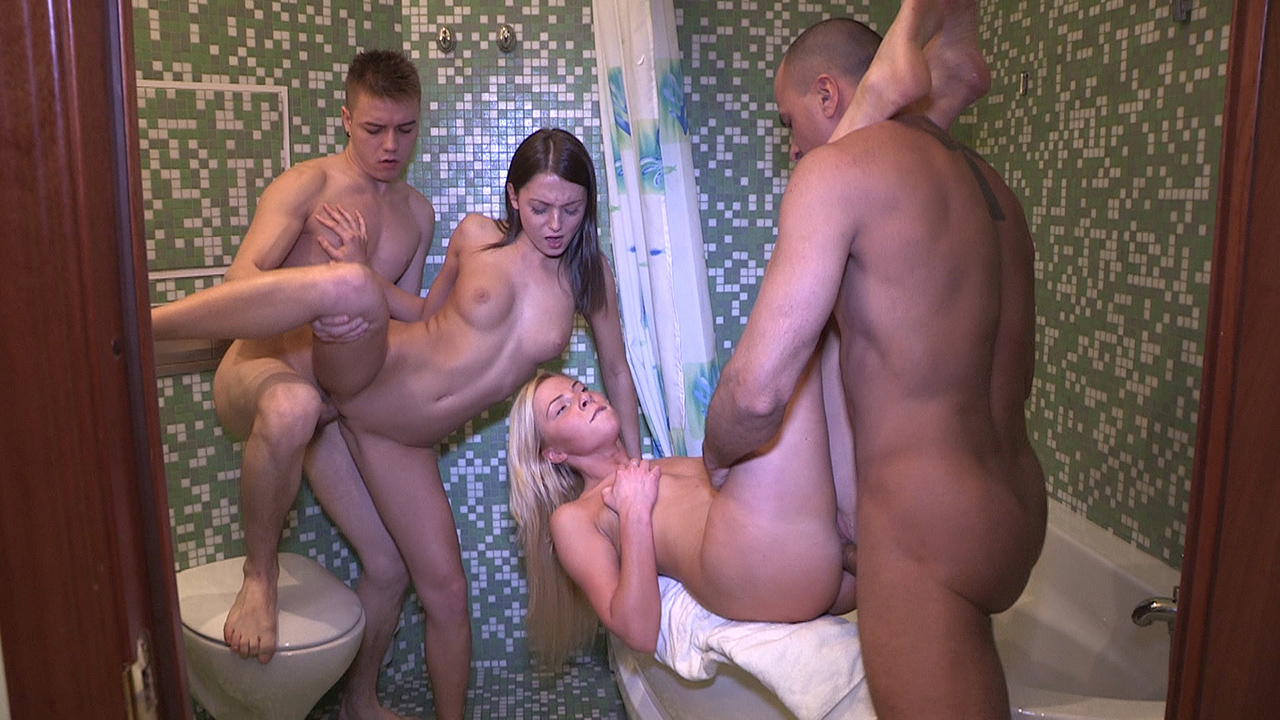 Angela & Inna - Hot sex party in a bathroom